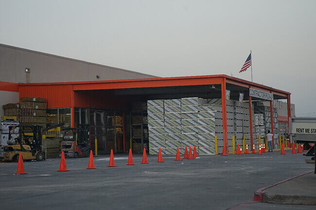 Stacks of drywall at a Houston area Home Depot following Hurricane Harvey