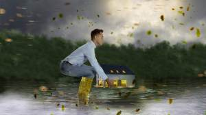 Man protecting home from a storm