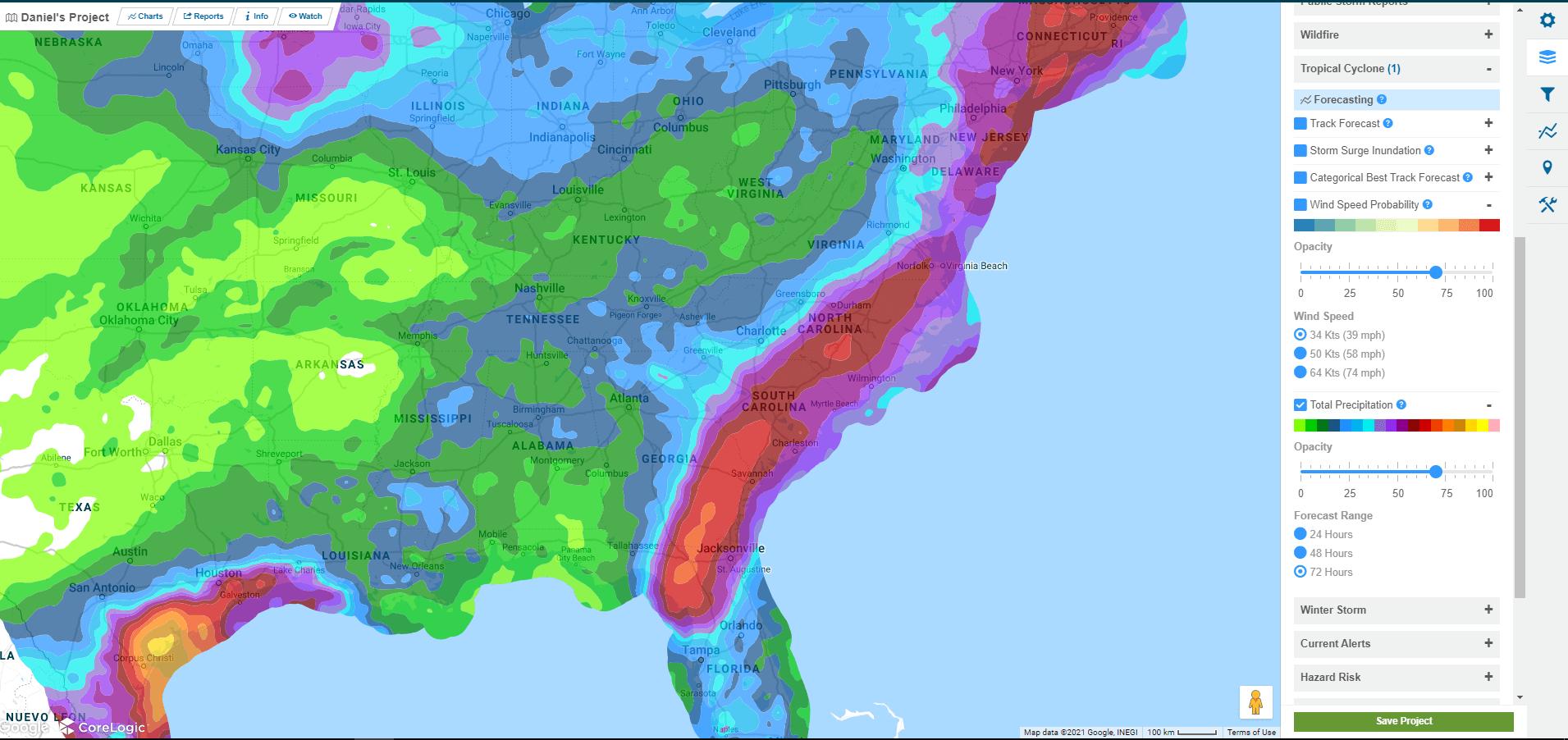 Map of Tropical Storm Elsa
