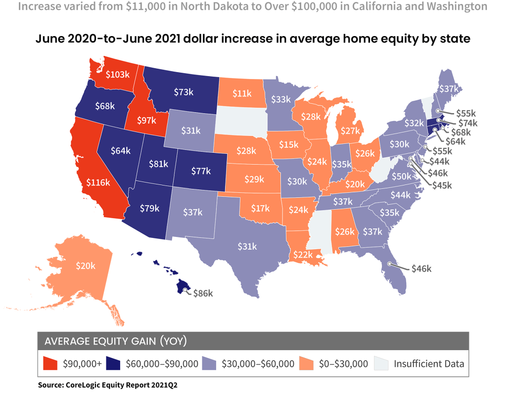 Map showing average equity gain per state