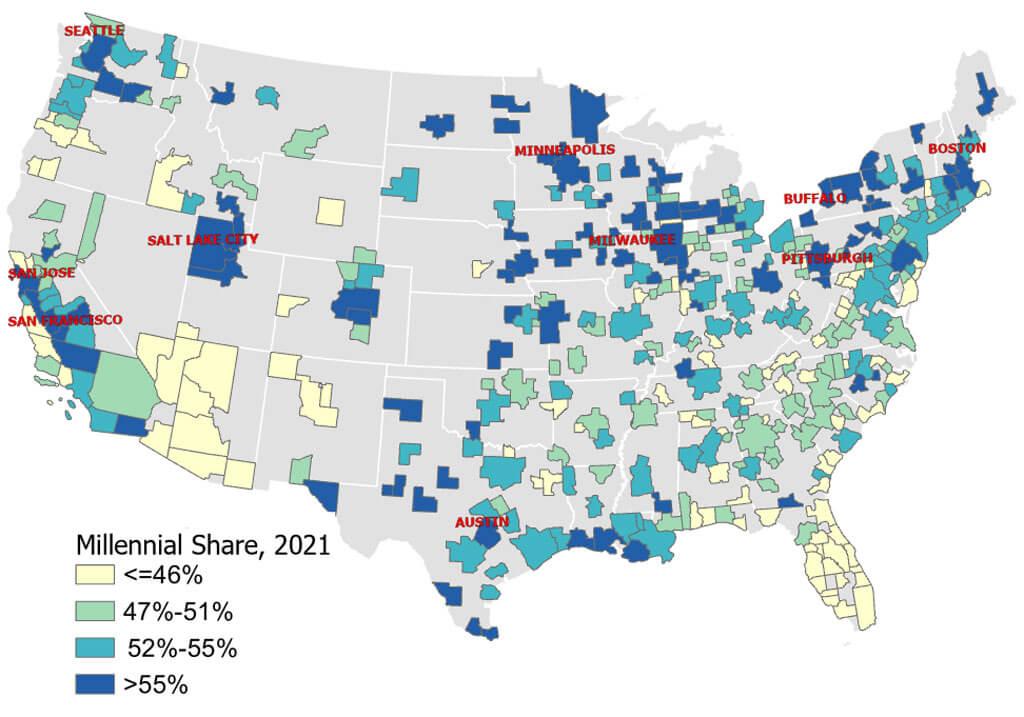 Figure 2. U.S. Metro Areas Based on Share of Millennial Homebuyers in 2021